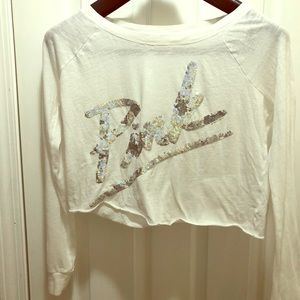 White and silver crop top- medium